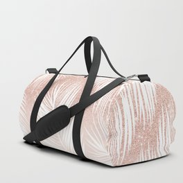 Modern trendy white palm tree leaf pattern on rose gold glitter blush pink Duffle Bag