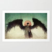 castiel Art Prints featuring Castiel by Mony