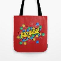 bazinga Tote Bags featuring Bazinga! by Skeleton Jack
