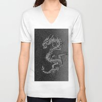 ying yang V-neck T-shirts featuring Ying and Yang by Cat Milchard