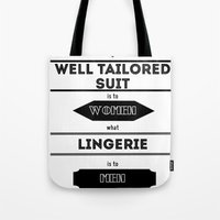 suits Tote Bags featuring suits by France Oly