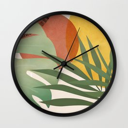 Tropical Garden Leaves 04 Wall Clock