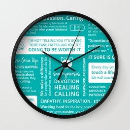 Positivity in Nursing ~ Teal Wall Clock