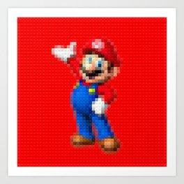 Mario - Toy Building Bricks Art Print