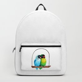 Cute Lovebirds Watercolor Painting Backpack