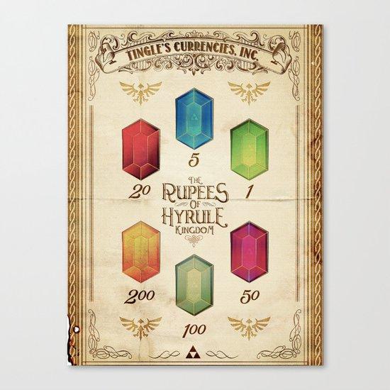 Legend of Zelda - The Rupees of Hyrule Kingdom Guide Canvas Print