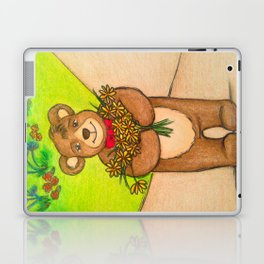 FLOWERS FOR YOU - Adorable Little Teddy Bear Flowers Floral Cute Colorful Original Illustration Laptop & iPad Skin