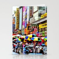 korean Stationery Cards featuring Korean Rain (Painted Version) by Anthony M. Davis
