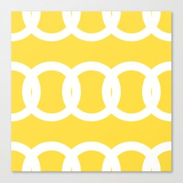 White Circles Yellow Background #decor #society6 #buyart Canvas Print