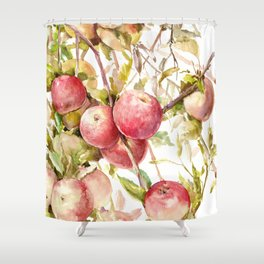 Apple Tree, kitchen design red olive green kitchen fruits Shower Curtain