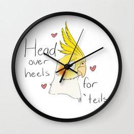 Head over heels for cockatiels Wall Clock