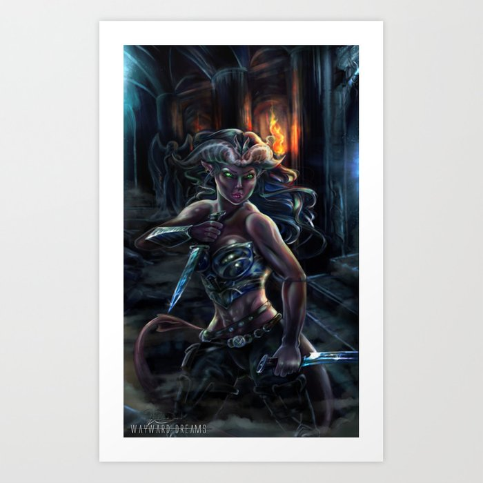 Tiefling Rogue Art Print by waywarddreamsart