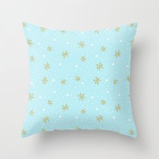Merry christmas- abstract winter pattern with white & gold Snowflakes Throw Pillow