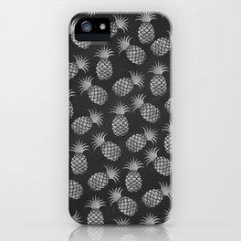 Tropical modern black gray pineapple fruit pattern iPhone Case