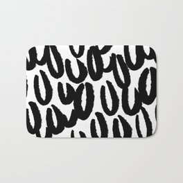 Brushy black and white - classy college student collection Bath Mat