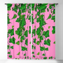 GREEN IVY HANGING LEAVES & VINES ON PINK Blackout Curtain