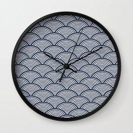 Japanese Waves Navy Wall Clock