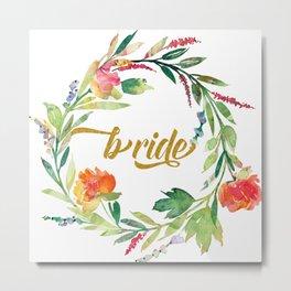 Bride Modern Typography Floral Wreath Metal Print