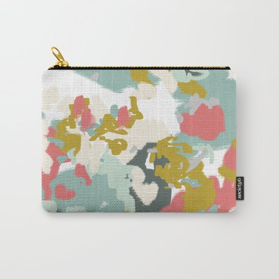 Rumor - Abstract painting, design pink mustard blue painterly design Carry-All Pouch