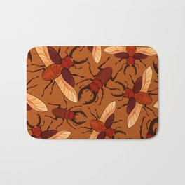 Red Stag Beetle Pattern Bath Mat