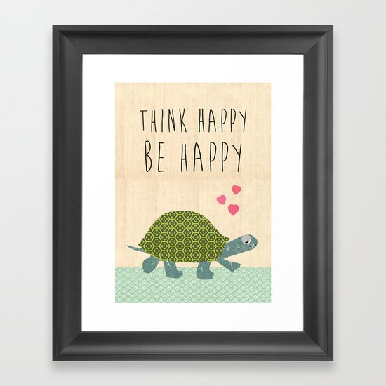 Think happy be happy typography Print on wooden background Framed Art Print