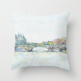 La Seine 1, Paris, France, by Jennifer Berdy Throw Pillow