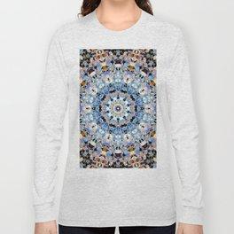 Blue Brown Folklore Texture Mandala Long Sleeve T-shirt