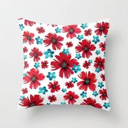 Carnations & Columbines Throw Pillow