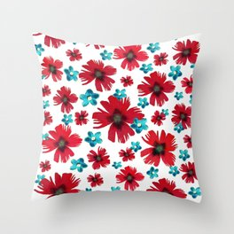Carnations & Columbines Throw Pillow