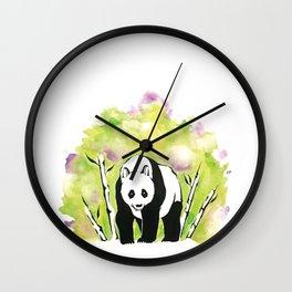 Watercolor Panda Green Wall Clock