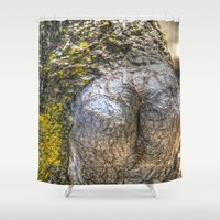 humor Shower Curtains featuring Tree Humor by Christia Caldwell Moody