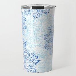 Mandala blue snowflake illustration. Travel Mug