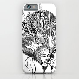 Handdrawn psychedelic Jimi Hendrix black and white portrait illustration iPhone Case