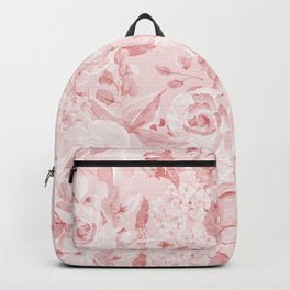 Modern rustic blush pink white watercolor floral Backpack
