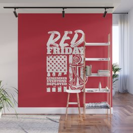 Red Friday Navy Family Deployed Wall Mural