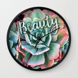 """""""Beauty"""" mint green & pink tipped cactus close-up photo Wall Clock"""