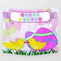easter Wall Tapestries featuring Happy Easter by Elena Indolfi