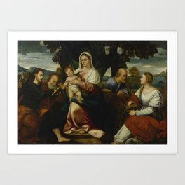 Bonifacio de Pitati called Bonifazio Veronese and Workshop   1487 - 1553   HOLY FAMILY WITH SAINTS J Art Print
