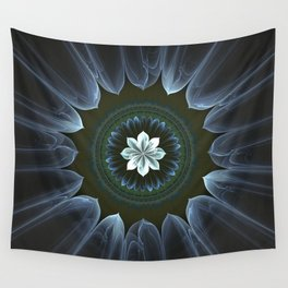Blossom Within in White Wall Tapestry
