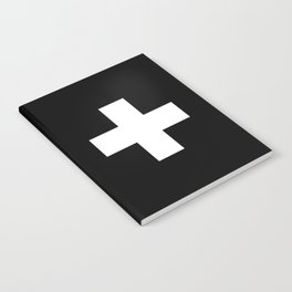 Swiss Cross Black and White Scandinavian Design for minimalism home room wall decor art apartment Notebook