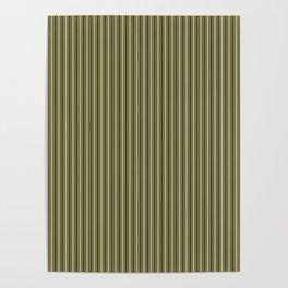 Trendy French Khaki Mattress Ticking Black Double Stripes Poster