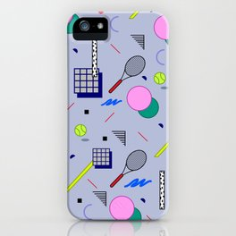 Seamless colorful pattern in retro style on grey background with tennis ball and tennis racket iPhone Case