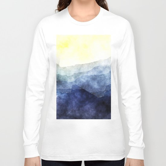 Sun behind the mountains - Modern abstract triangle pattern Long Sleeve T-shirt