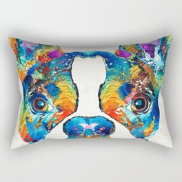 Colorful Boston Terrier Dog Pop Art - Sharon Cummings Rectangular Pillow