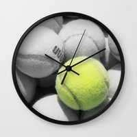 tennis Wall Clocks featuring TENNIS. by TMCdesigns
