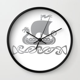 Dragon Boat - Silver Grey Wall Clock