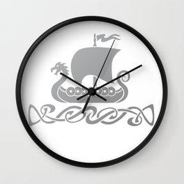 Dragon Boat - Silver Grey Wall Clock