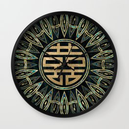 Double Happiness Symbol Gold and Abalone Wall Clock