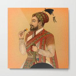 Indian Mughal with Flower Metal Print