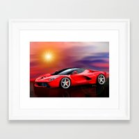 ferrari Framed Art Prints featuring Red Ferrari by JT Digital Art